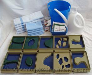 painted plastic Montessori land and water forms