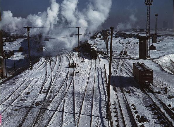 Belt Railway of Chicago, looking toward the west yard of clearing yard, taken from bridge of hump, Chicago, Illinois, January 1943. Library of Congress.