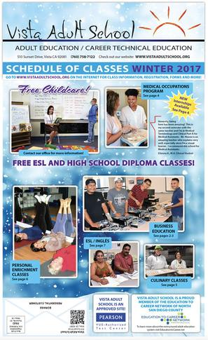 Vista Adult School Winter Schedule