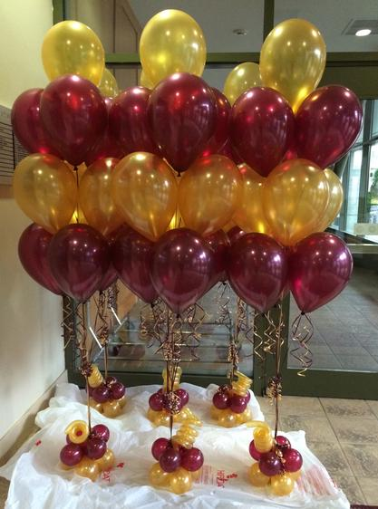 Gold and Burgandy Balloon Bouquets
