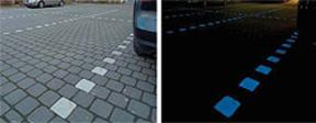 Unilock Nightec® Photo-Luminescent Paver Day And Night Time Color