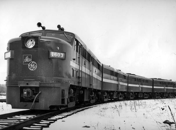 An ALCO FA-2 demonstrator locomotive in December of 1960. This set was eventually sold to the Chicago and North Western railroad.