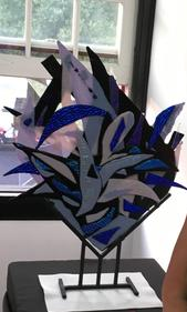 """Jubilation"", fused glass sculpture"