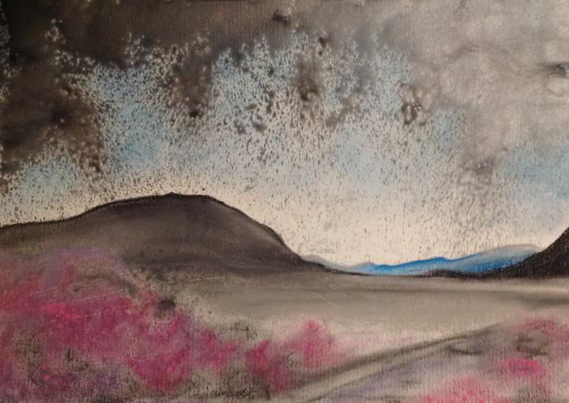 Maam Cross. 34x48cm. Re-imagined Connemara Lanscape. Pastels and Ink on 300grm. paper by Irish artist Orfhlaith Egan. Berlin, Germany.