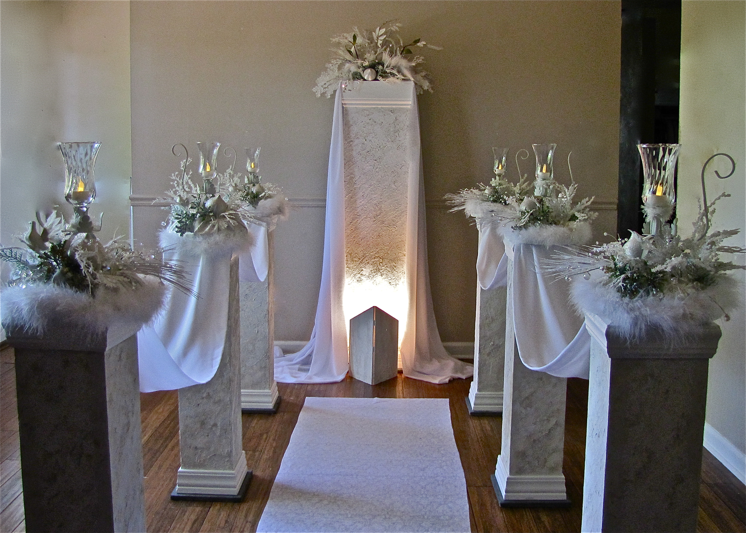 Rent Six Aisle Pillars An Altar Pillar With Florals Draping For 400 Under