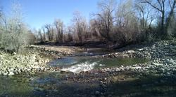 Downstream shot at completed habitat restoration work on the Popo Agie River in Lander.