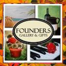 Founders Logo which shows 4 tiles of paintings, one seascape, on still life, one flower pot and one with piano and rose