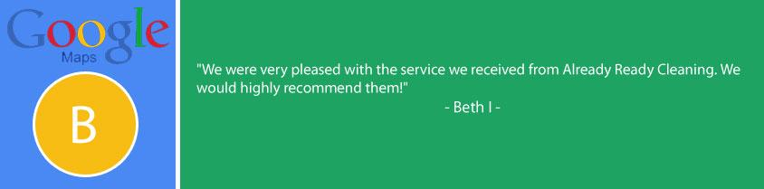 Google review of Always Ready Cleaning. We were very pleased with the service we received.
