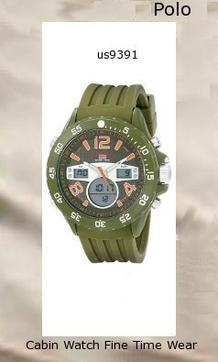 Watch Information Brand, Seller, or Collection Name U.S. Polo Assn. Model number US9391 Part Number US9391 Item Shape Round Dial window material type Glass Display Type Analog and digital Clasp Buckle Case material Metal Case diameter 48 millimeters Case Thickness 16 millimeters Band Material Silicone Band length Men's Standard Band width 24 millimeters Band Color Green Dial color Green Bezel material Metal Bezel function Stationary Calendar Day, date, and month Movement Analog quartz
