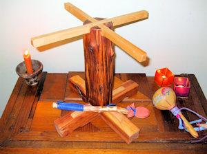 The handcrafted stand for the Wind Horse Lightning Drum
