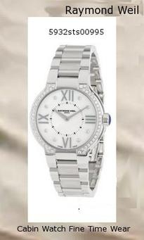 Watch Information Brand, Seller, or Collection Name Raymond Weil Model number 5932-STS-00995 Part Number 5932-STS-00995 Item Shape Round Dial window material type Anti reflective sapphire Display Type Analog Clasp deployant-clasp Case material Stainless steel Case diameter 32 millimeters Case Thickness 6 millimeters Band Material Stainless steel Band length Women's Standard Band width 16 millimeters Band Color Silver Dial color Mother of pearl Bezel material Stainless steel Bezel function Stationary Calendar Date Special features diamond accented bezel, Roman numerals and diamond hour markers, blue jewel crown Item weight 2 Pounds Movement Swiss quartz Water resistant depth 165 Feet