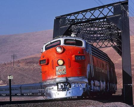 "This railroad photo shows Western Pacific Railroad's 805-D ""California Zephyr"" passenger train at Altamont Pass in the San Joaquin Valley near Northern California. ""California Zephyr"" was Western Pacific's best-known and most popular train."