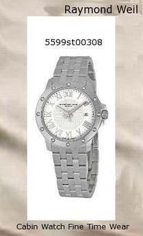 Watch Information Brand, Seller, or Collection Name Raymond Weil Model number 5599-ST-00308 Part Number 5599-ST-00308 Model Year 2011 Item Shape Round Dial window material type Anti reflective sapphire Display Type Analog Clasp Push-Button Clasp Case material Stainless steel Case diameter 39 millimeters Case Thickness 7.5 millimeters Band Material Stainless steel Band length Men's Standard Band width 18 millimeters Band Color Silver Dial color White Bezel material Stainless steel Bezel function Stationary Calendar Date Item weight 15.84 Ounces Movement Swiss quartz Water resistant depth 165 Feet