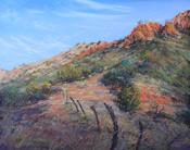 Crossroads, pastel landscape by Lindy C Severns Fort Davis TX