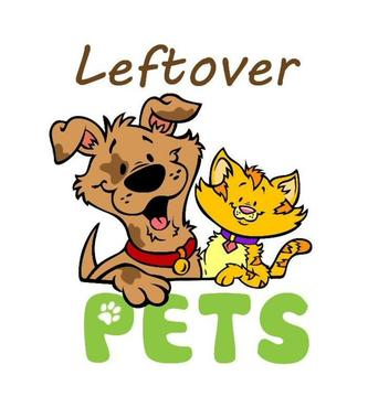 Leftover Pets Logo - Cartoon-like drawing of brown dog and orange cat