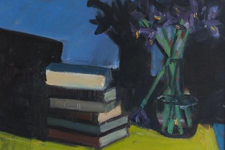 Painting of Books and Flowers by Brian Ballard