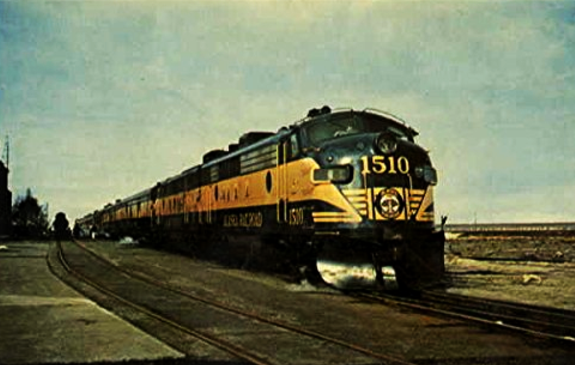 The Alaska Railroad streamliner Aurora at Anchorage passenger station the morning of April 11, 1964, the first train to run north from Anchorage after the earthquake of March 27, 1964.