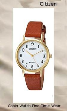 Product specifications Watch Information Brand, Seller, or Collection Name Citizen Model number EM0572-05A Part Number EM0572-05A Item Shape Round Dial window material type Mineral Display Type Analog Clasp Buckle Case material Stainless steel Case diameter 30.5 millimeters Case Thickness 8 millimeters Band Material leather calfskin Band length Women's Standard Band width 14 millimeters Band Color Brown Dial color White Bezel material Stainless steel Bezel function Stationary Movement Japanese quartz Water resistant depth 165 Feet,citizen watch