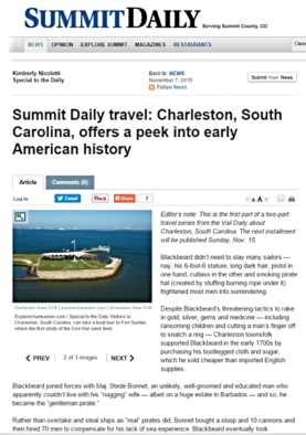 Charleston SC history and pirates