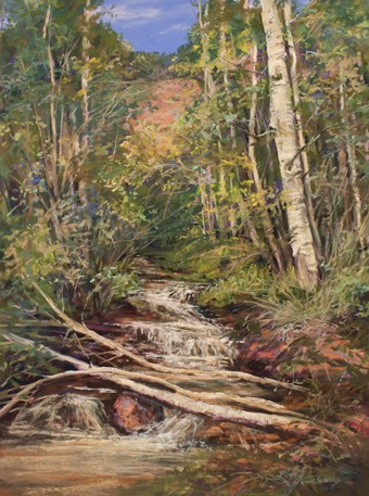 An Icy Run Thru Aspen, painting a dense forest is shown step by step in a downloadable painting lesson by Lindy C Severns