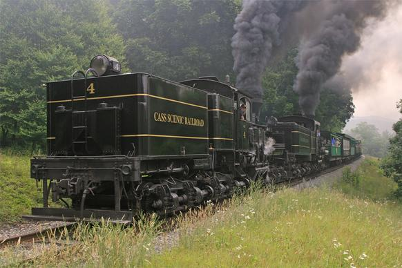 Shay locomotives No. 4 and No. 11 at Cass Scenic Railroad State Park.