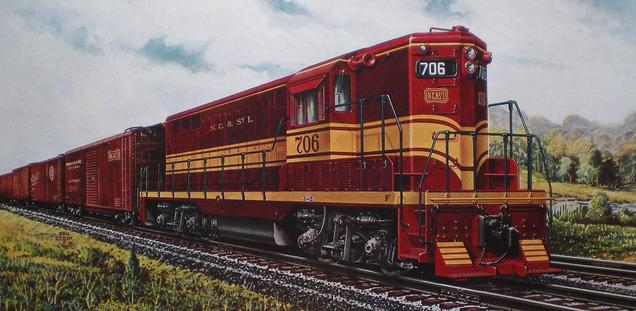 EMD Builder's Portrait of the NC&St.L's GP7 No. 706.