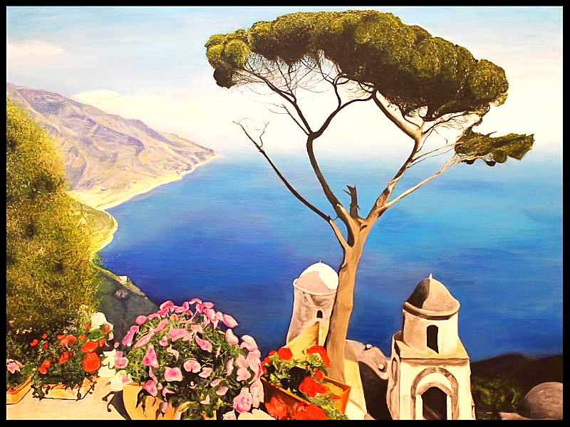 Ravello, Italy. Private Collection. Original Representational Acrylic Landscape Painting by Irish artist Orfhlaith Egan. Berlin Art Gallery & Studio.