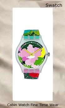 Swatch Originals Tropical Garden Pink Dial Silicone Strap Ladies Watch SUOK132