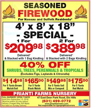 Firewood Mulch Soil Bulk Delivery Long Island Seasoned Prianti Sale
