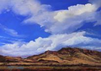 Skyburst Over Blue Mountain, pastel by Lindy C Severns, Fort Davis TX