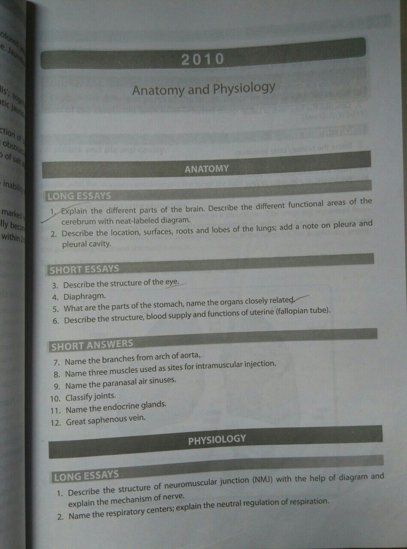 Question Bank Anatomy and Physiology, First Year bsc nursing, RGUHS