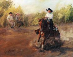 Reining horse gift custom oil painting of horse and rider in a sliding stop