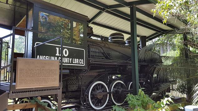 Angelina County Lumber Company Engine No. 110, located at the Ellen Trout Zoo in Lufkin, Texas.