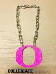 Oregon_Ducks_Necklaces_Pink_Large_Chrome_Chain_O_Diamond_Plate_Custom_Made