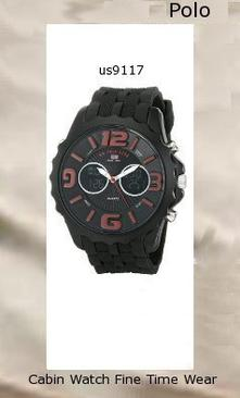 Watch Information Brand, Seller, or Collection Name U.S. Polo Assn. Model number US9117 Part Number US9117 Model Year 2014 Item Shape Round Dial window material type Glass Display Type Analog-Digital Clasp Buckle Case material Stainless steel Case diameter 50 millimeters Case Thickness 17 millimeters Band Material Rubber Band length Mens-Standard Band width 24 millimeters Band Color Black Dial color Black Bezel material Metal Bezel function Stationary Calendar Day, date, and month Movement Quartz