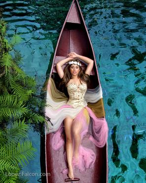 QUINCEANERA WITH CANOES CANOE IN SECRET GARDENS LOCATION PLACE FOR RENT