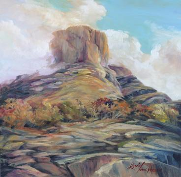 Alone With the Sky original miniature oil painting by Big Bend Artist Lindy C Severns shows Casa Grande in the Chisos Basin in winter. Art for sale at the V6 Collection of the Gage, Marathon TX