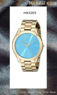 Watch Information Brand, Seller, or Collection Name Michael Kors Model number MK3265 Part Number MK3265 Model Year 2014 Item Shape Round Dial window material type Mineral Display Type Analog Clasp single-locking-fold-over Case material Stainless steel Case diameter 42 millimeters Case Thickness 10 millimeters Band Material Stainless steel Band length Women's Standard Band width 20 millimeters Band Color Gold Dial color Blue Bezel material Stainless steel Bezel function Stationary Special features measures-seconds Item weight 5.76 Ounces Movement Quartz Water resistant depth 165 Feet,michael kors watch