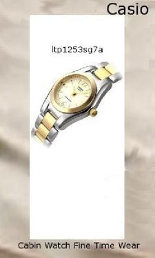 Watch Information Brand, Seller, or Collection Name Casio Model number LTP1253SG-7A Part Number LTP-1253SG-7A Item Shape Round Dial window material type Mineral Display Type Analog Clasp Fold over clasp Case material Two Tone Case diameter 35 millimeters Case Thickness 8 millimeters Band Material Two Tone Bracelet Band length Women's Standard Band width 12 millimeters Band Color Gold Dial color White Special features Luminous Movement Quartz Water resistant depth 10 Meters