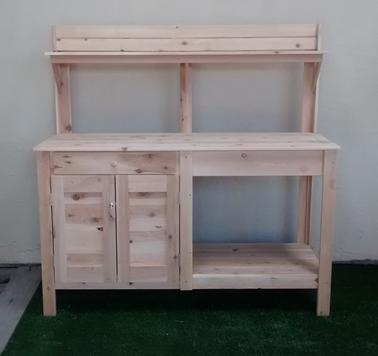 Cedar potting table with cabinet, Potting bench with half cabeint