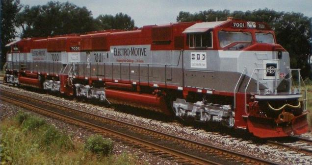 EMD Model SD70M Demonstrators Nos. 7001 and 7000.