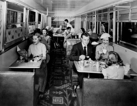 Photo of the lower level of the Pullman-built all dome lounge car of the Milwaukee Road prior to its being placed in service. Circa 1952.