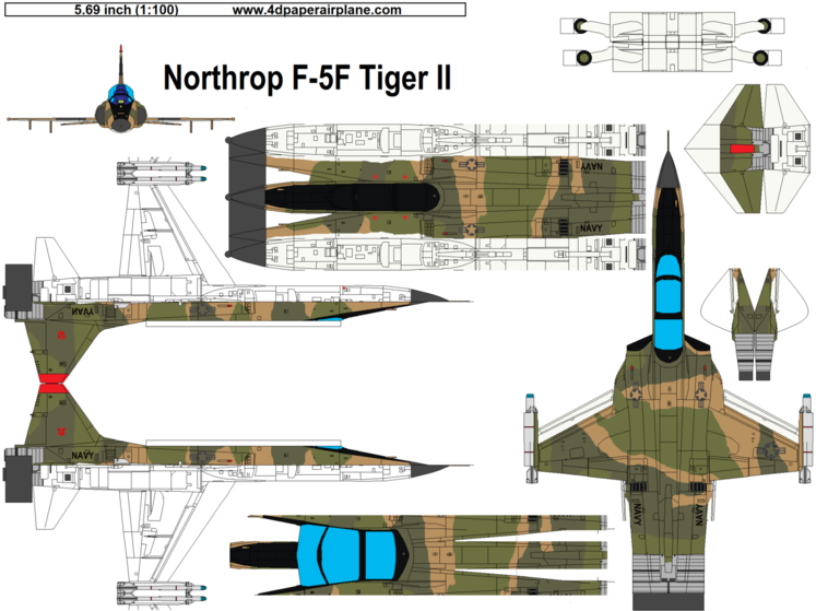 4D model template of Northrop F-5F Tiger II