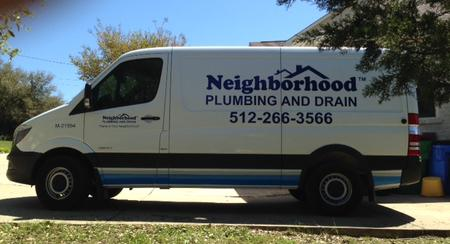 Neighborhood Plumbing and Drain Plumbers Van parked at home in Lakeway, Tx