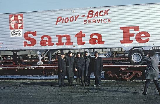 ATSF Officers, Mr, Maish, Chairman; Mr. Reed, President; official of Essex Wire; Mr. Caiazza, VP-Traffic; Mr, Shelton, VP-Operations, inaugural of Super C train Corwith Yard on Jan. 17, 1968. Photo by Roger Puta.
