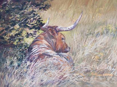 The Good Life, original wildlife pastel painting by Texas artist Lindy C Severns. Texas Longhorn in summer shade near Marfa, TX. For Sale at the V6 Collection, the Gage Hotel's boutique gallery in Marathon TX