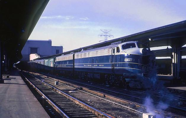 B&O's Cincinnatian waiting to depart Cincinnati Union Terminal on April 11, 1963. Photo by Roger Puta.