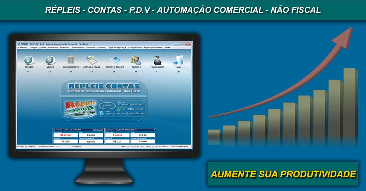 704b76f98e6439 RÉPLEIS CONTAS - Sistema de Automação Comercial - Não Fiscal