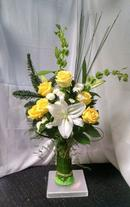 NB-TYW Oriental Lilies, Roses, Bells of Ireland, and Mums.