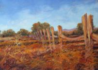 Southwestern fence in afternoon light, miniature pastel landscape by Texas artist Lindy Cook Severns, Old Spanish Trail Studio, Fort Davis TX